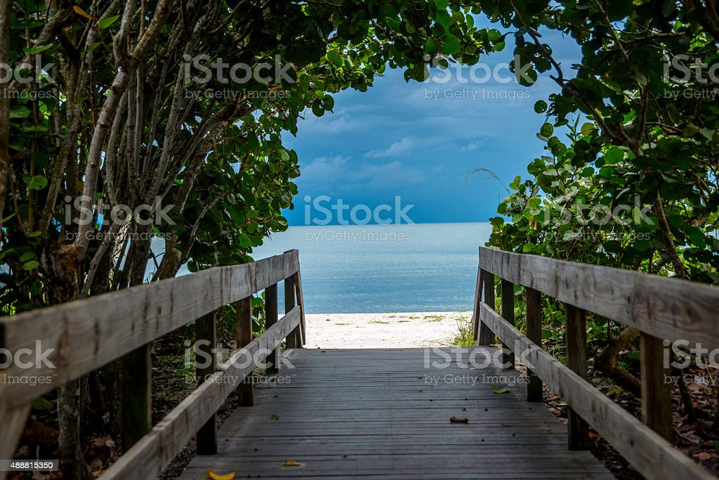 Boardwalk to Bonita Springs Beach stock photo