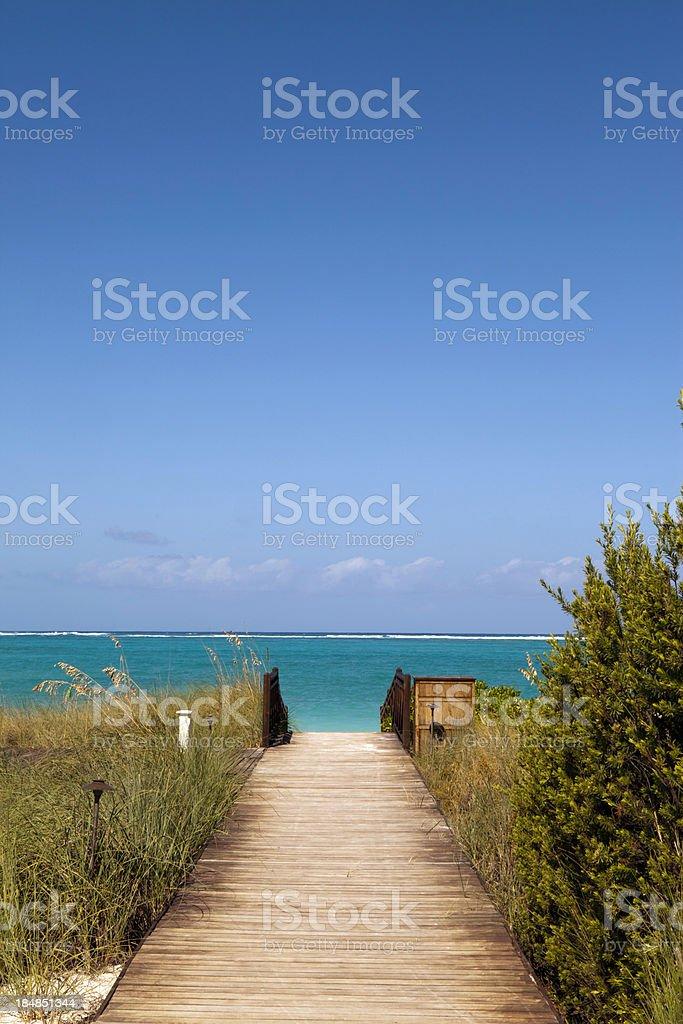 Boardwalk to ocean royalty-free stock photo