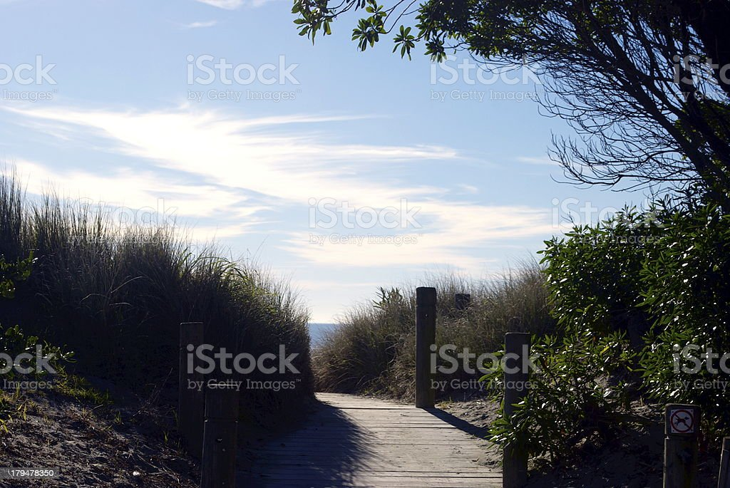 Boardwalk to the Beach, Tahunanui,NZ royalty-free stock photo