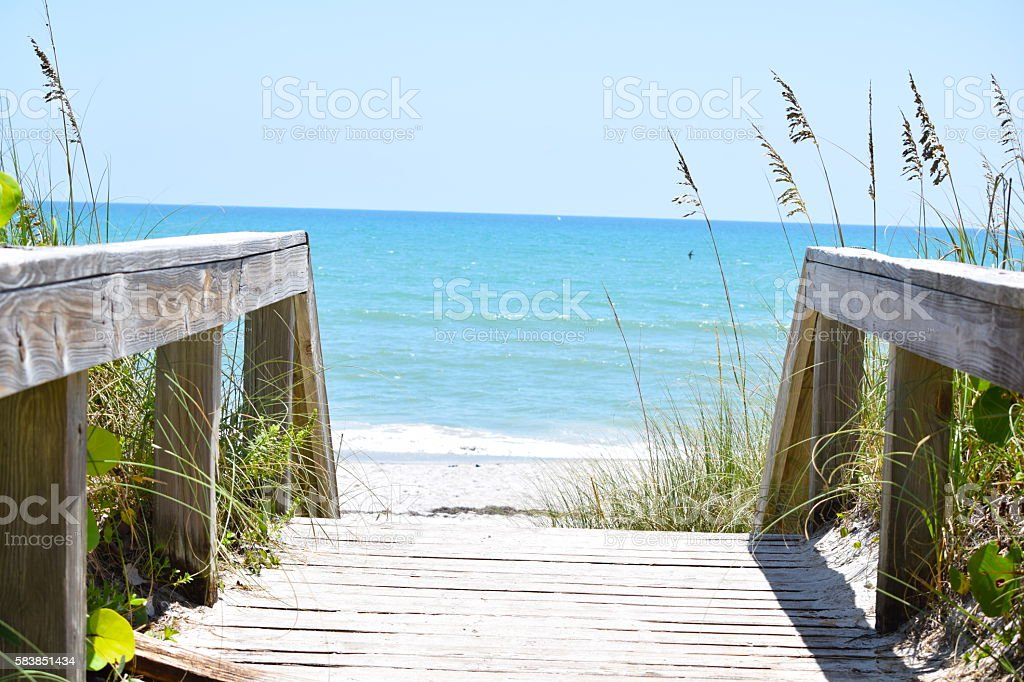 Boardwalk to the Ocean stock photo