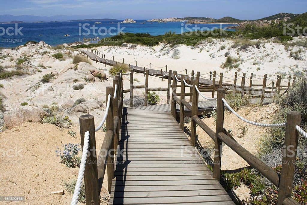 boardwalk to the sea stock photo