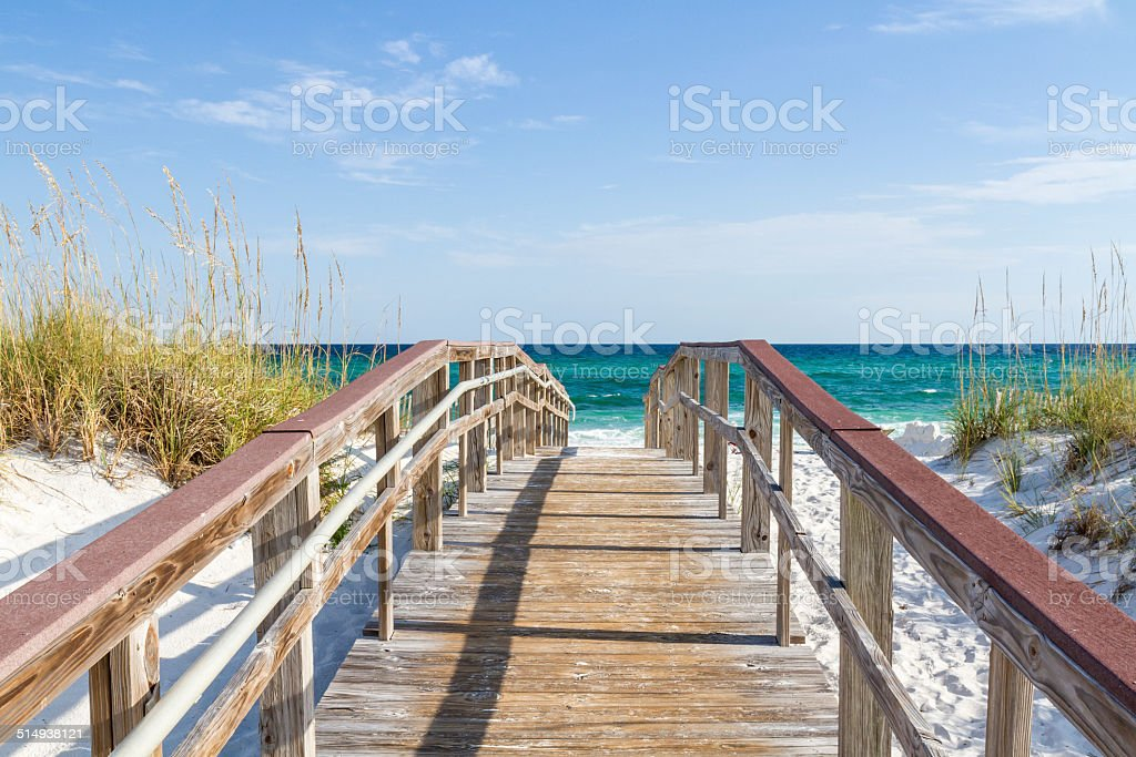 Boardwalk to the Turqouise Gulf stock photo