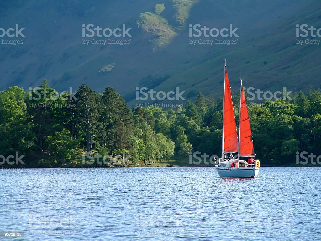 Boat across the water stock photo