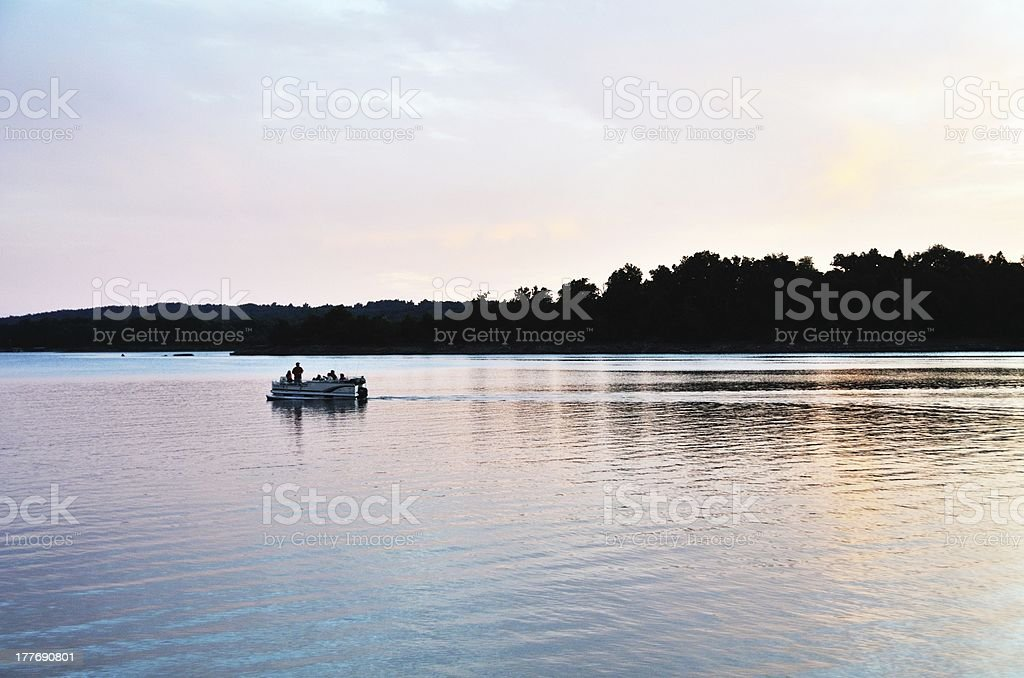 Boat after Sunset stock photo