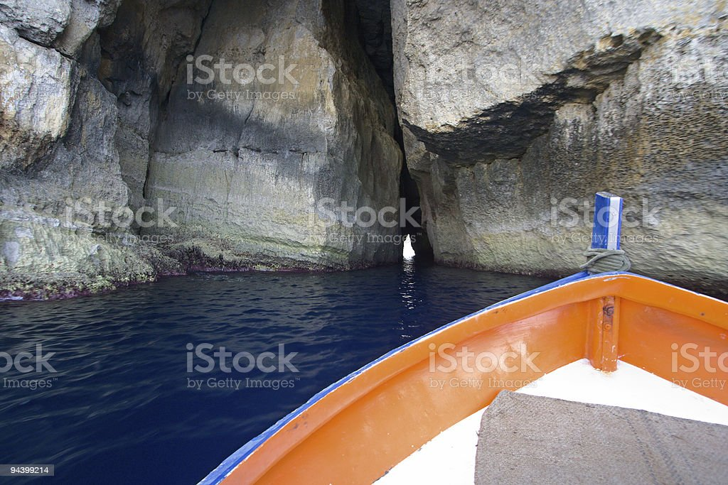 Boat Aiming At Tunnel royalty-free stock photo