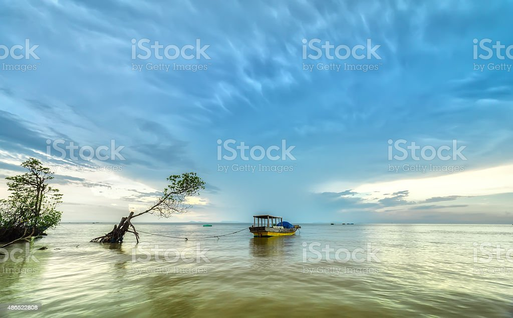 Boat anchor wilderness waters stock photo