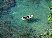 Boat anchored at Bay of All Saints in Brazil