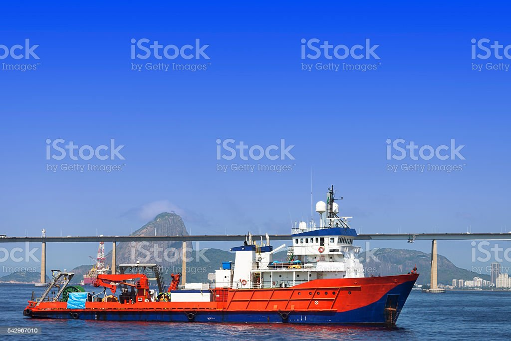 Boat anchored at Guanabara Bay in Rio stock photo