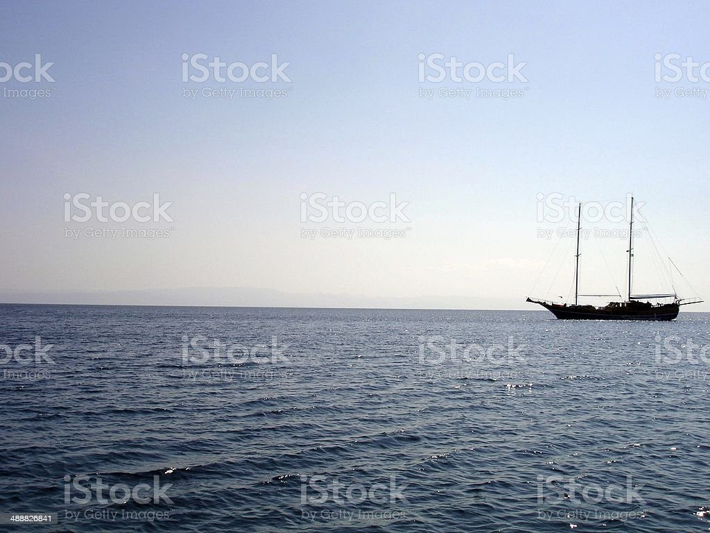 Boat anchored on the Red Sea royalty-free stock photo
