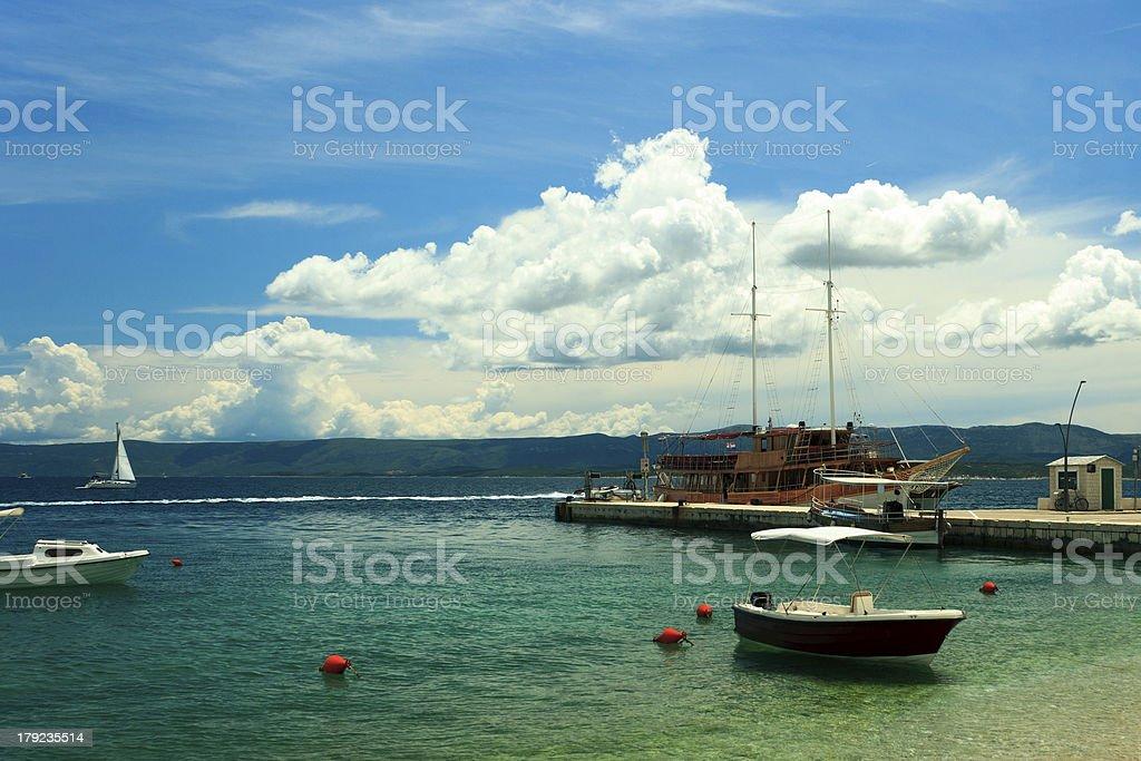 Boat anchorer on beach royalty-free stock photo