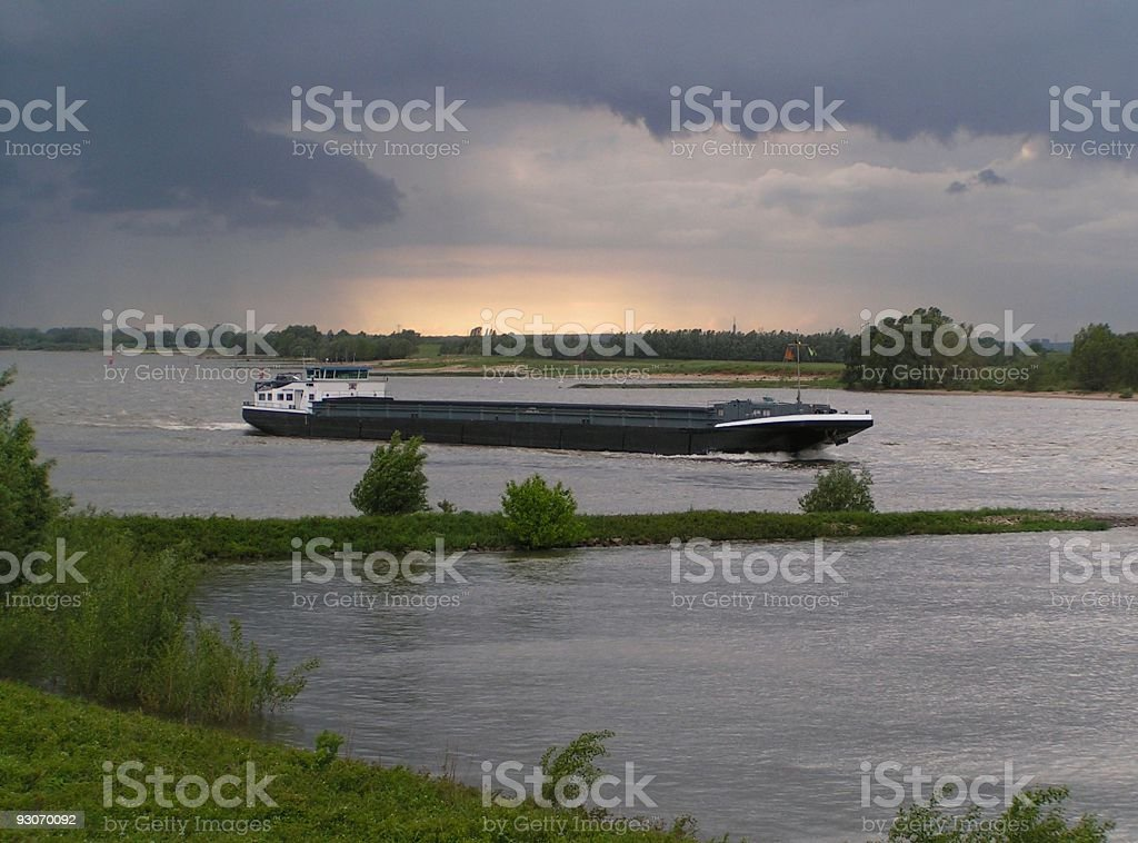 boat and a dutch river stock photo