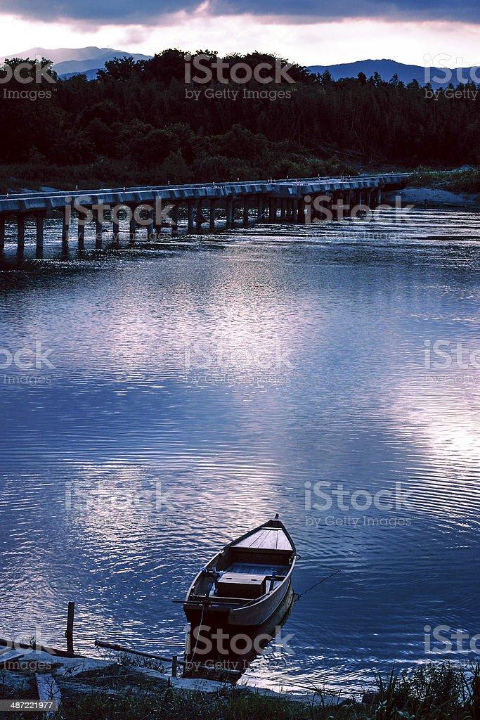 Boat and bridge,Japan stock photo