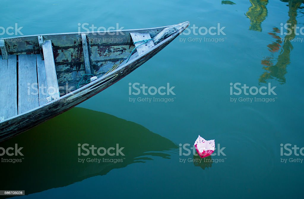 boat and candle stock photo