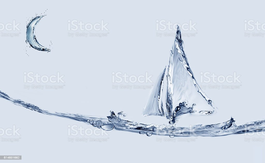 Boat and Crescent royalty-free stock photo