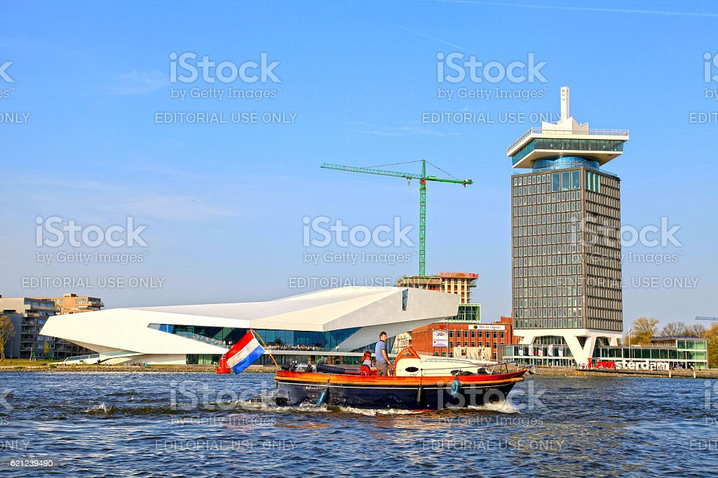 boat and EYE Film Institute and Overhoeks Tower, Amsterdam stock photo