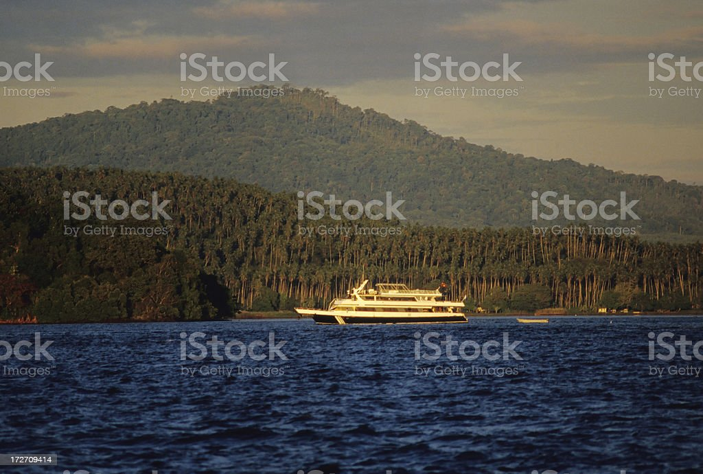 Boat And Island stock photo
