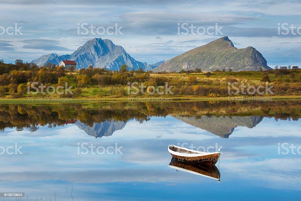 Boat and Lake in Lofoten, Norway stock photo