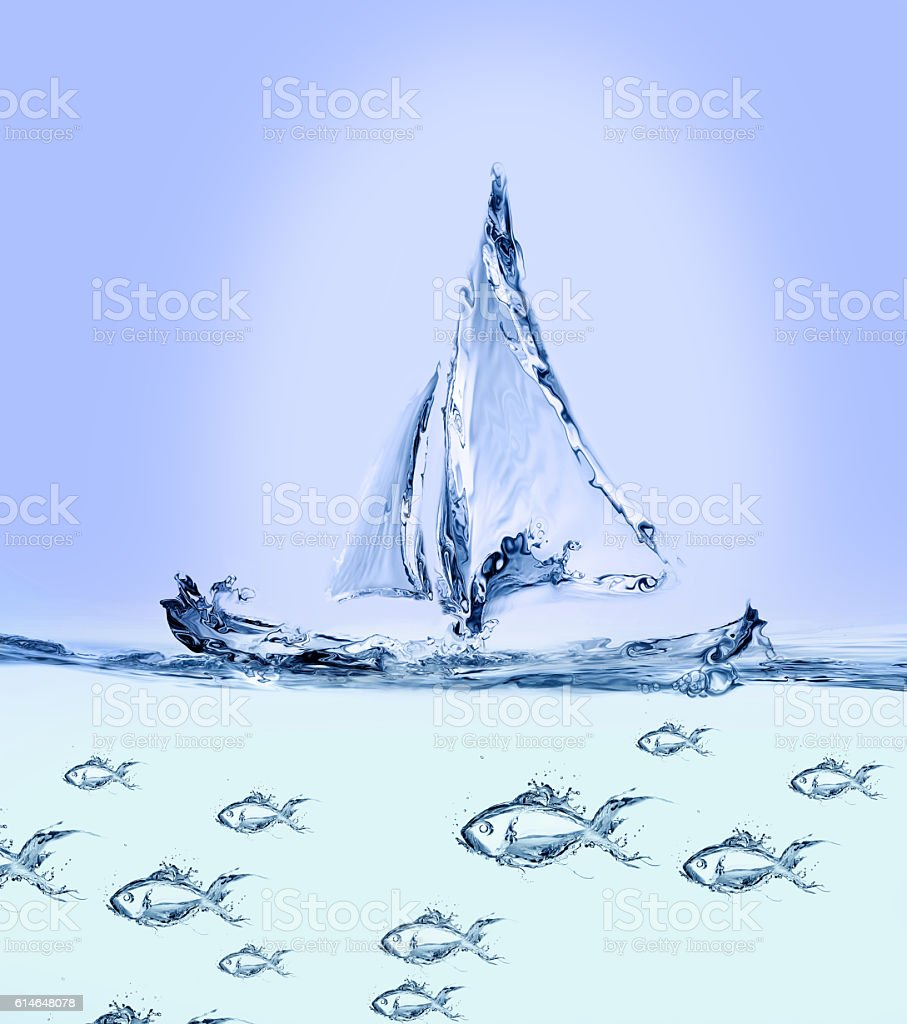 Boat and School of Fish royalty-free stock photo