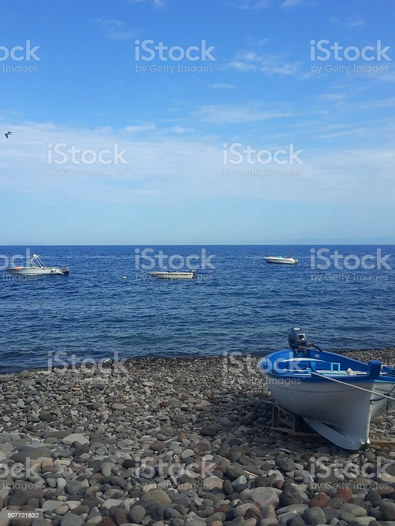 boat and seaside stock photo