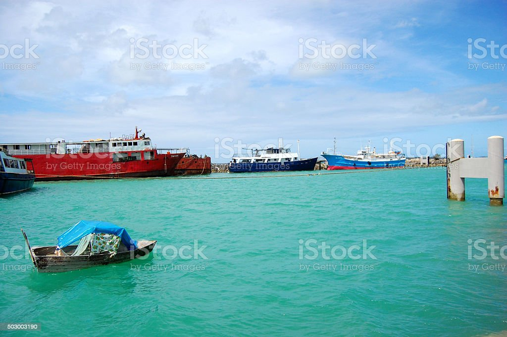 Boat and ships at port stock photo