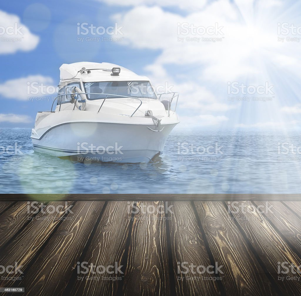 boat and wooden platform stock photo