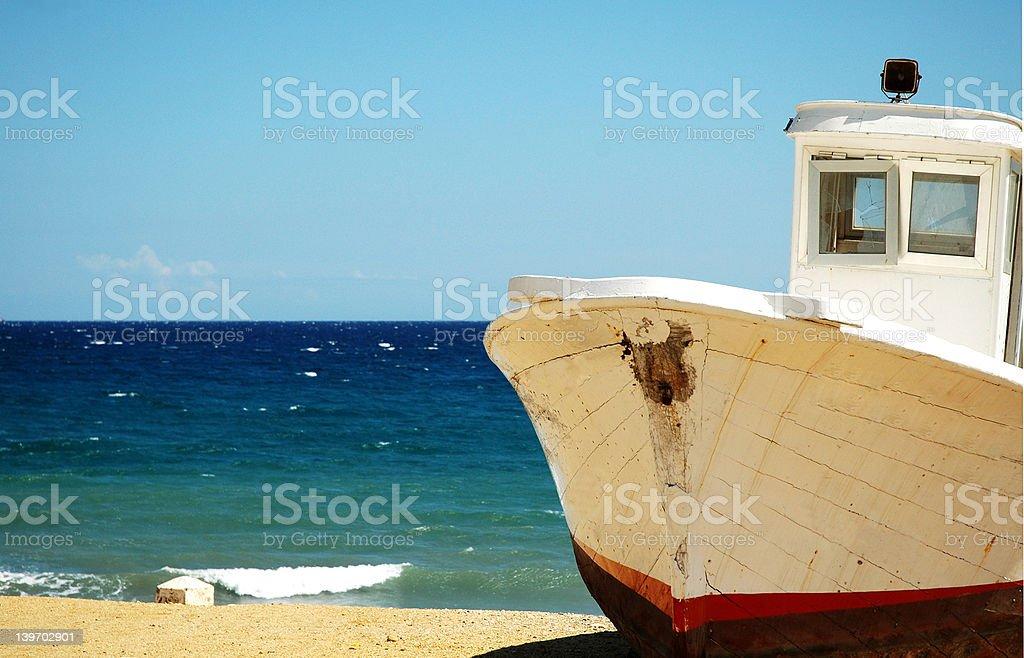 Boat ashore stock photo