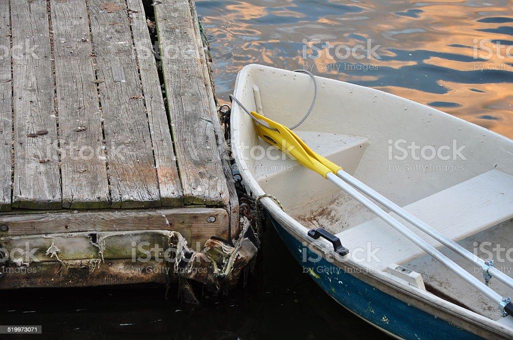 Boat at a paltform stock photo