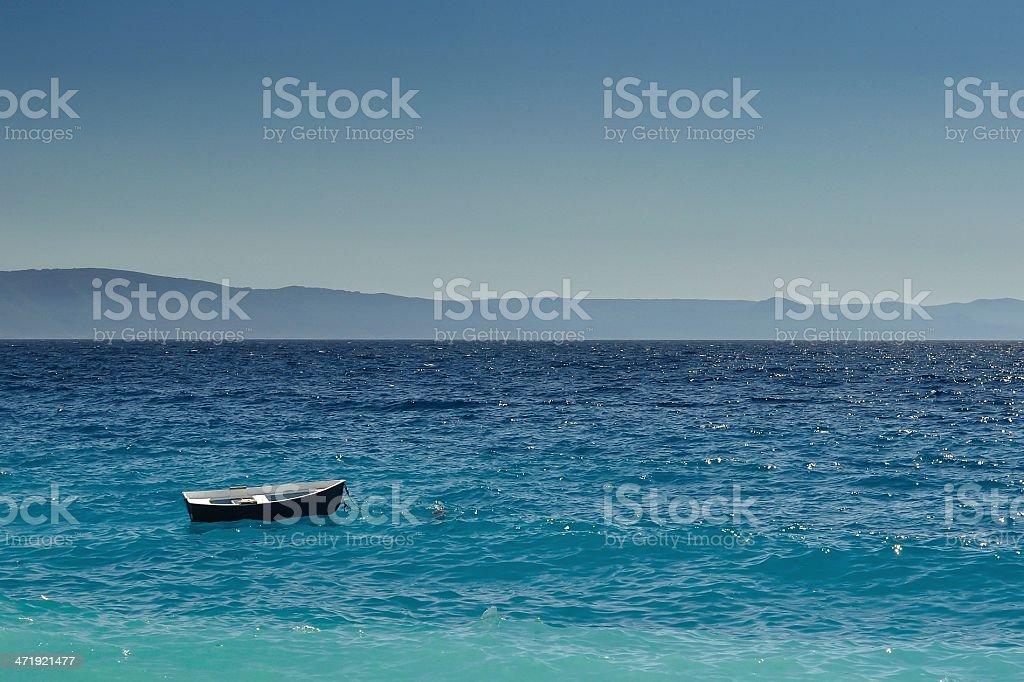 Łódka na otwartym morzu, Chorwacja zbiór zdjęć royalty-free