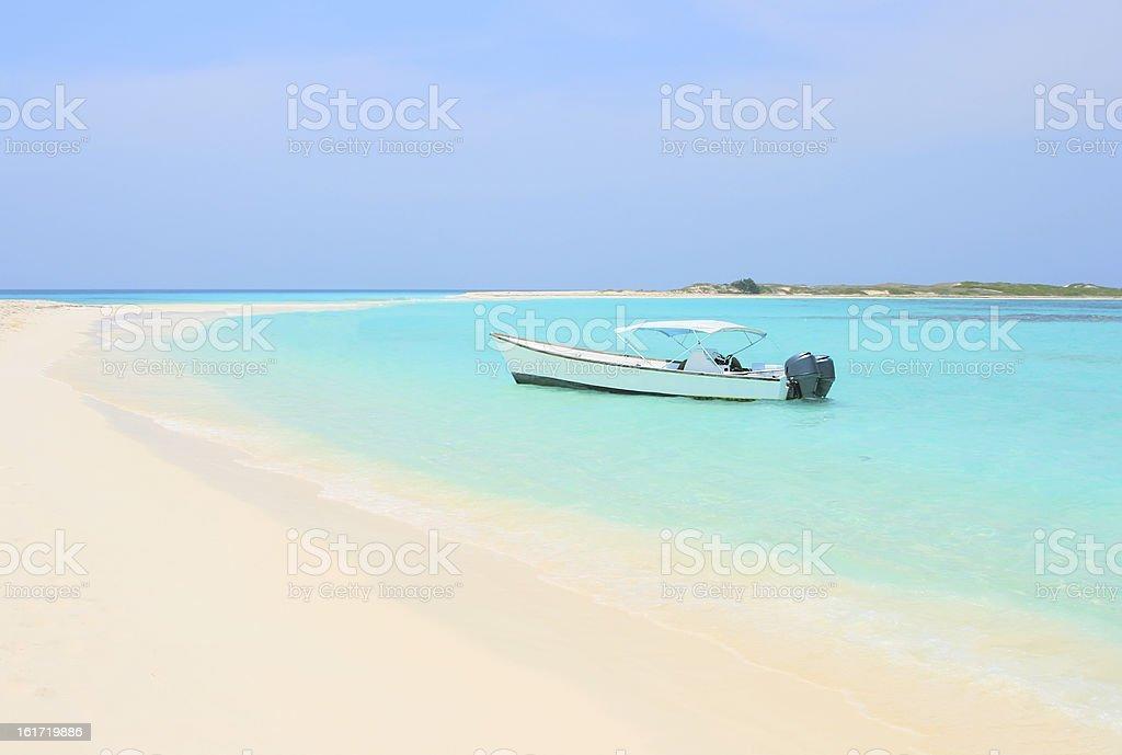 Boat at Cayo de Agua island stock photo