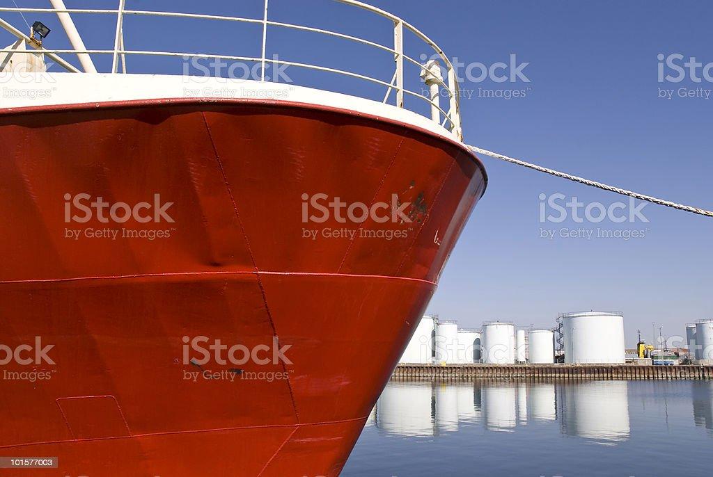 Boat at harbor stock photo