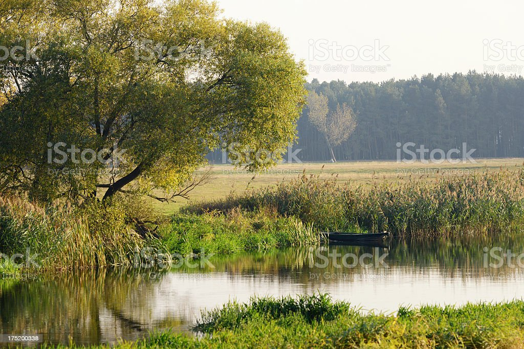 boat at Havel River (Germany) stock photo