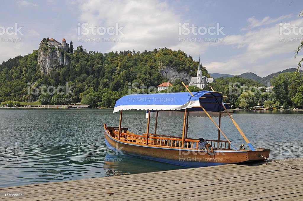 Boat at lake Bled stock photo