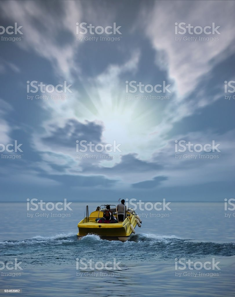 Boat at ocean  and  sunset royalty-free stock photo