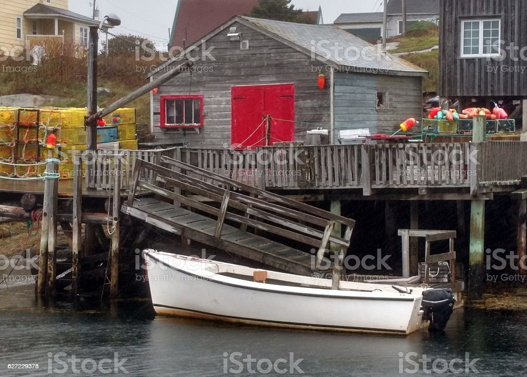 Boat at Peggy's Cove stock photo