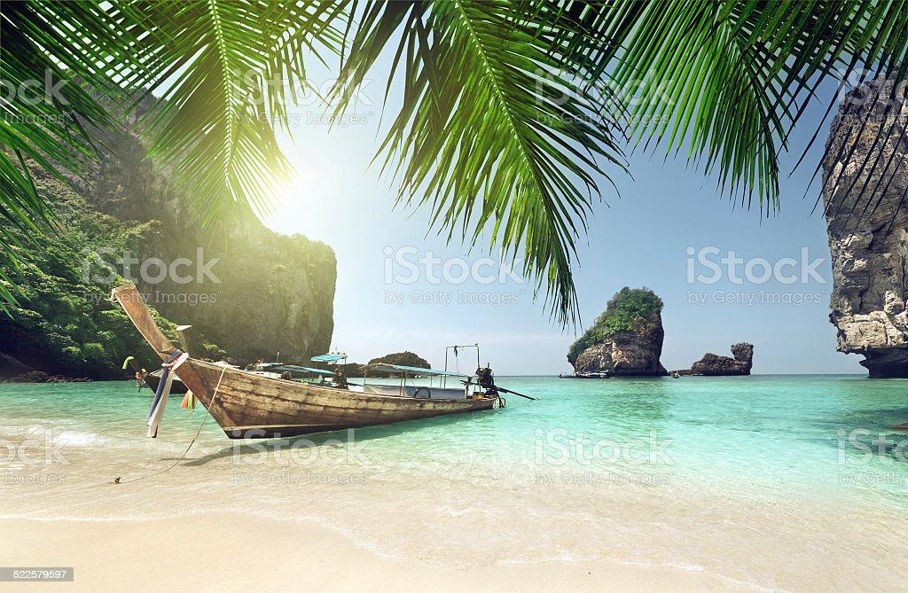 boat at Phi Phi island, Thailand stock photo