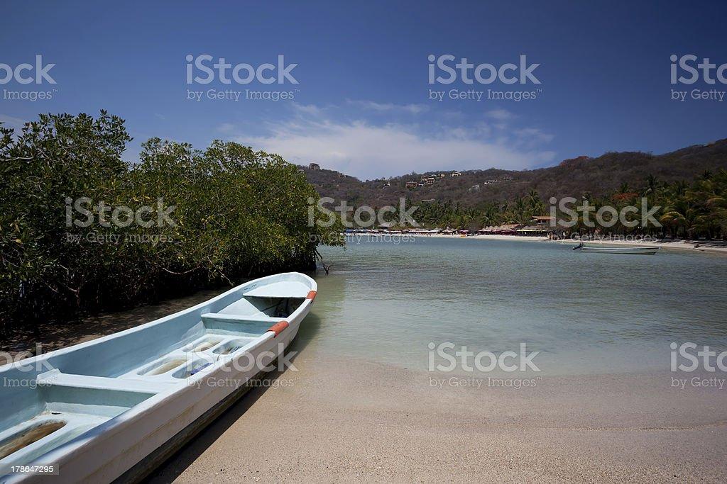 Boat at Playa las Gatas stock photo