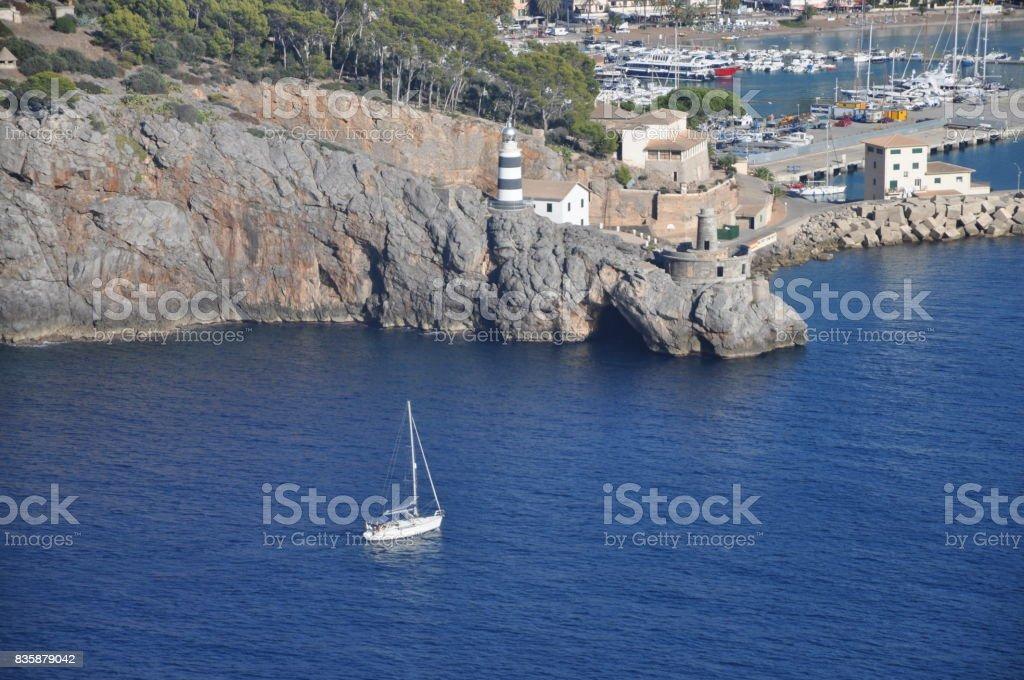 Boat at Port de Soller, Majorca stock photo