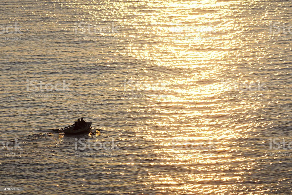 Boat at sea royalty-free stock photo