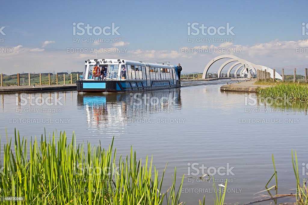 Boat at Top of Falkirk Wheel stock photo