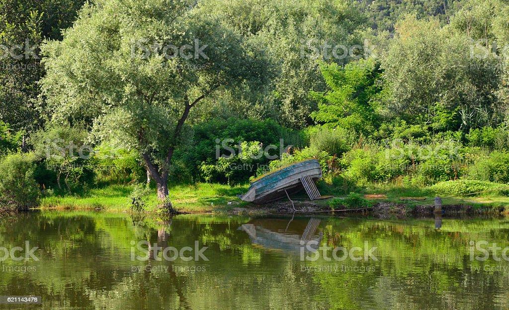 Boat at Virpazar stock photo