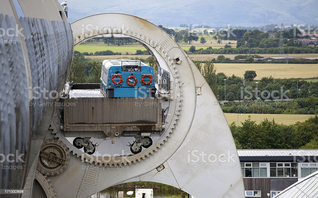 Boat being lifted in a Gondola of the Falkirk Wheel stock photo