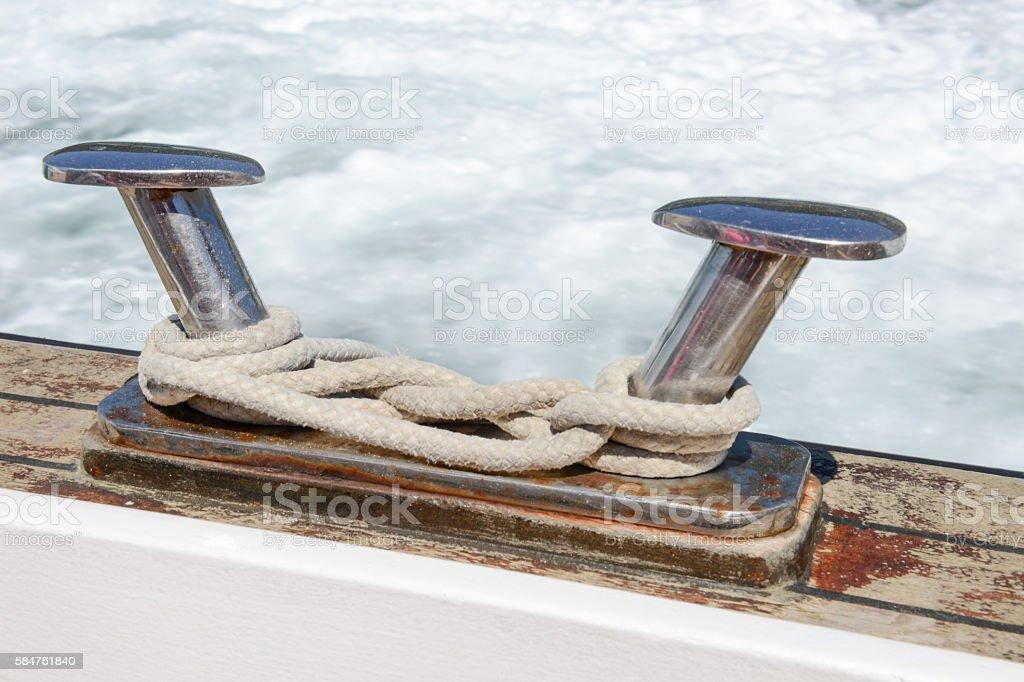 Boat bitt detail stock photo