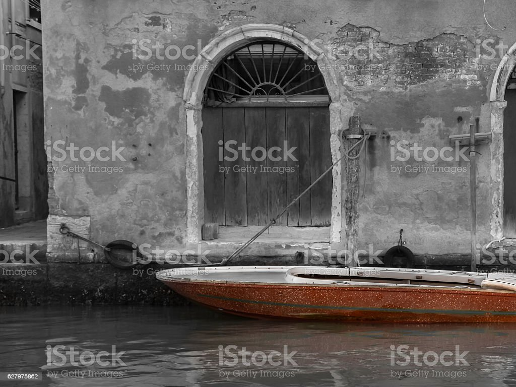 Boat. Black and White Photography with Color stock photo