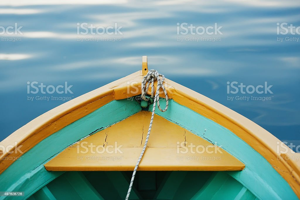 Boat bow with a rope close up. stock photo