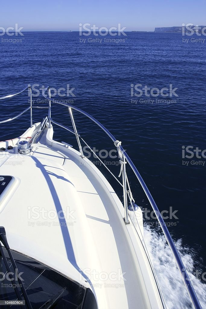 Boat bow, yatch vacation on the blue ocean royalty-free stock photo