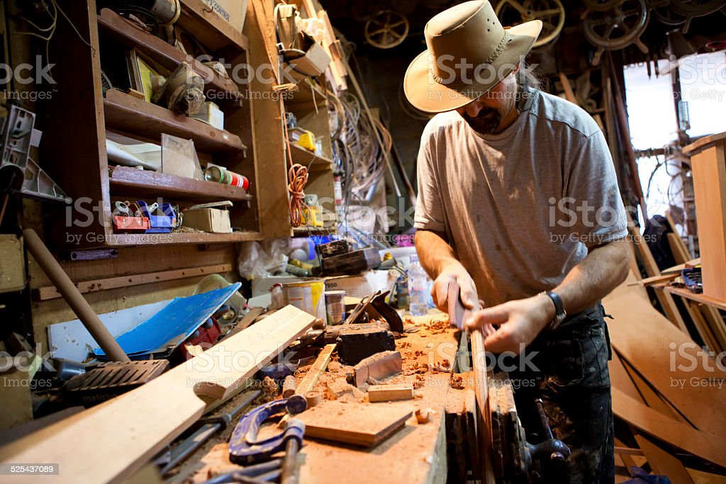 Boat building in the workshop stock photo