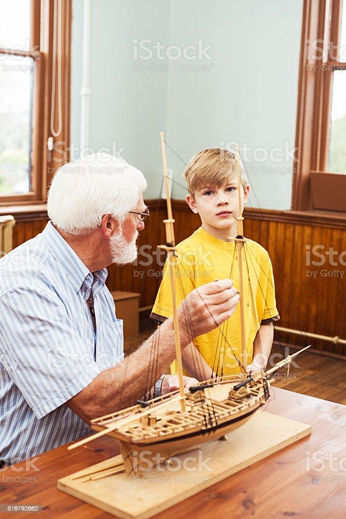 Boat building lesson stock photo