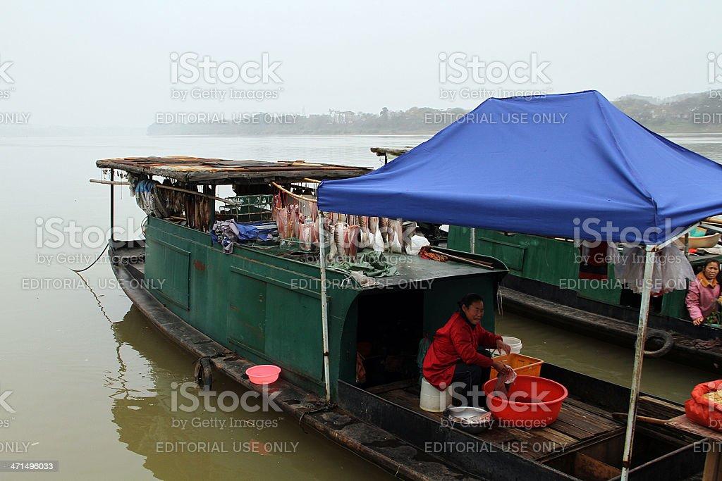 Boat by Zhanggong City Wall, Ganzhou royalty-free stock photo
