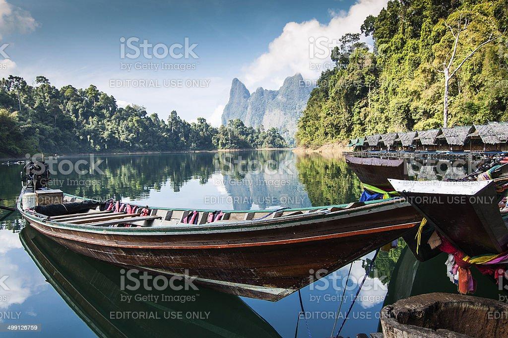 Boat & cabins, Khao Sok National Park stock photo
