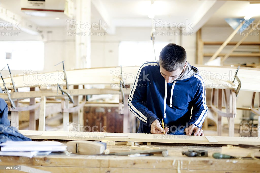 Boat carpentry stock photo